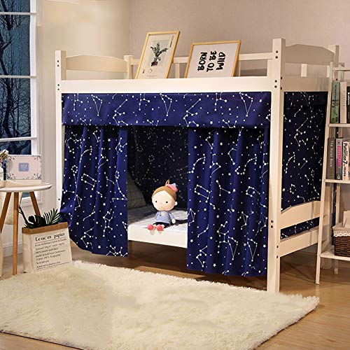 Forart Dormitorio estudiantil litera Cortinas Cama Individual Carpa Cortina sombreado Redes Antipolvo Blackout Fabric Dosel con Tapa 79x45 Pulgadas (3 Piezas)