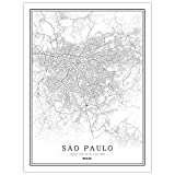 Leinwand Bild,Brasilien Sao Paulo Stadt Karte Einfache