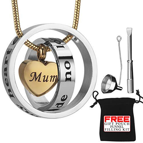 Urn Necklace Cremation Jewellery Stainless Steel Heart Ring Pendent For Mum Ashes Memorial Keepsake Locket Gold + Funnel Kit