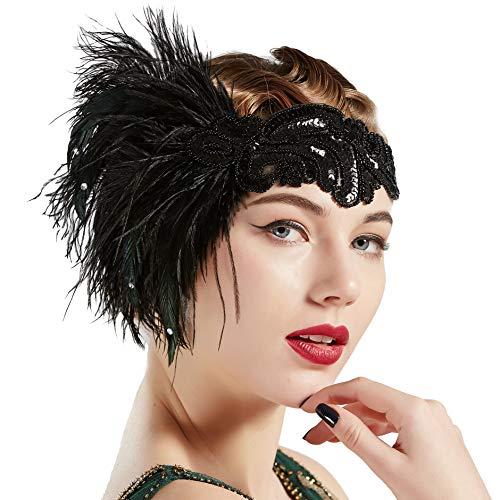 Coucoland 1920s Hoofdband veer dames jaren 20 stijl flapper charleston haarband Great Gatsby dames carnaval kostuum accessoires