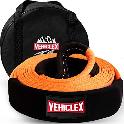 "Vehiclex Recovery Tow Strap 3"" x 20' - 35000lbs - Heavy Duty Off-Road Snatch Strap, High Visibility Industrial Webbing, Reinforced Loops, Protective Sleeves - Truck Towing Accessory, Storage Bag"