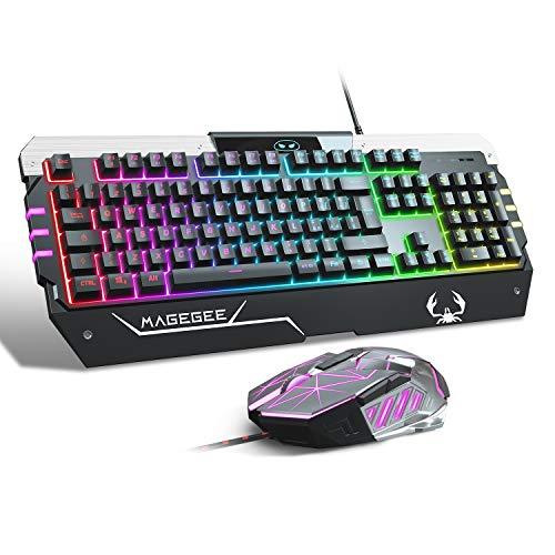 Combo tastiera e mouse da gioco USB RGB, GT817 104 set di tasti e mouse retroilluminati arcobaleno chiave, tastiera del computer Mouse cablato USB per giocatori PC Windows