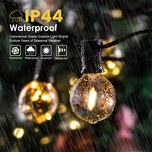 WOWDSGN 45Ft G40 LED Outdoor String Lights with 30(+3) Clear Shatterproof PVC Globe Bulbs, Waterproof Indoor Warm White Hanging Lights for Patio Bistro Backyard Porch Base Garden Party Decor 2700K