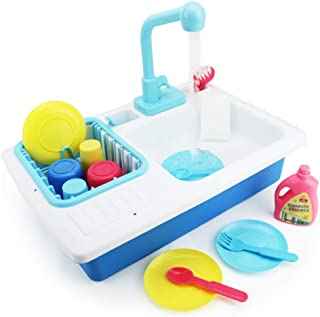 Boley Kids Play Kitchen Sink with Running Water - 20 Piece Dishwashing Toy with Sink, Real Faucet, Dish Rack, Plastic Dishes, Sponge and Brush, and Pretend Dish Soap