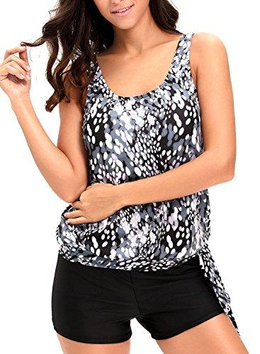 AlvaQ Women Two Piece Swimsuits Printed Push up Racerback Tankini Tops with Boyshort Plus Size XX-Large Black