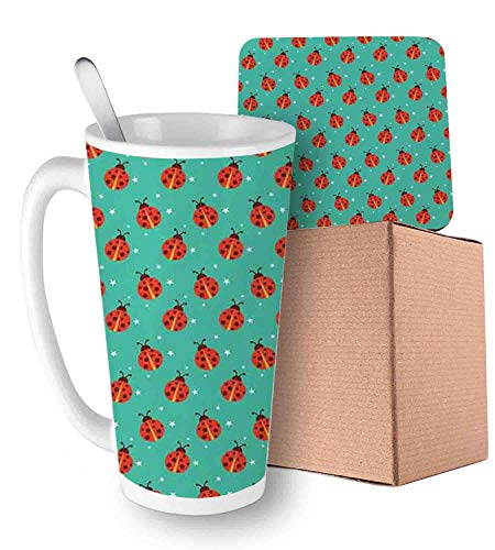 Cute Ladybugs with Little Star Motifs Spring Nature Pattern on Blue Background Teal Red Black Ceramic Cup with Spoon & Coaster Creative Morning Mug Milk Coffee Tea Unique Porcelain Cup Mug 16oz