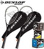 [page_title]-Dunlop Squashset: 2x Squashschläger BIOTEC LITE TI SILVER DELUXE + 2x Schlägerhülle + 3 hochwertige Bälle