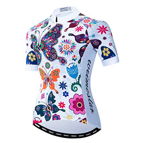 Fahrradtrikot für Damen, kurzärmelig, mit durchgehendem Reißverschluss, Fahrradbekleidung mit 3 Taschen - - Mittel