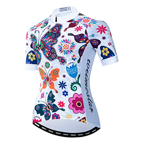 Cycling Jersey Women Short Sleeve Bike Biking Shirts Full Zip Bicycle Tops Cycling Clothes with 3 Pockets