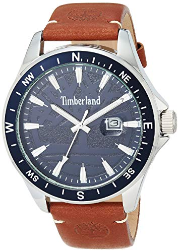 Timberland SWAMPSCOTT Reloj de cuarzo con correa de piel, café, 22 (modelo: TBL15941JY01)
