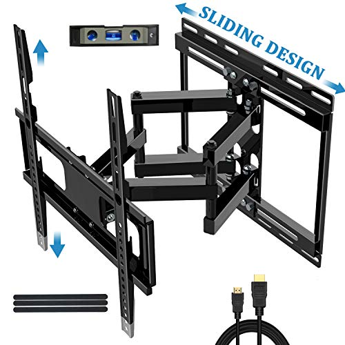 JUSTSTONE TV Wall Mount Full Motion for 32-65 Inch Flat Screen Curved TVs 88 Lbs, Articulating TV Bracket with Sliding Design and Height Adjust for TV Centering,Tilt Swivel,16' Studs- 16.9' Extension