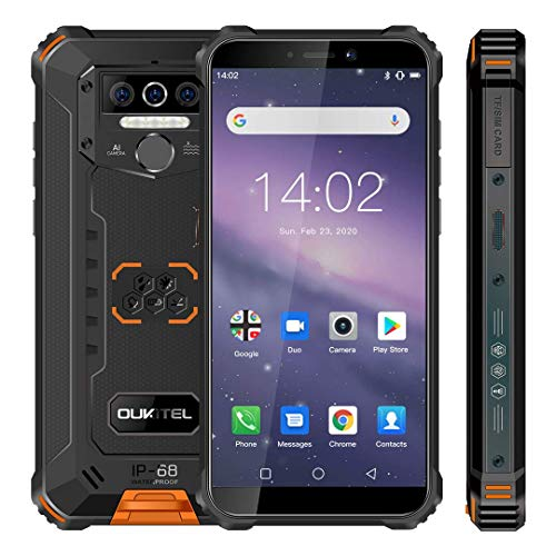 Móvil Resistente, OUKITEL WP5 Telefono Movil Antigolpes, Batería Grande de 8000 mAh, 4GB RAM + 32GB ROM,5.5 Pulgadas,Cámara Triple, Android 9.0 Smartphone con 4 Linternas LED Súper Brillantes-Naranja
