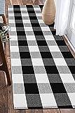 EARTHALL Buffalo Plaid Runner Rug Black and White 2'x6', Buffalo Check...
