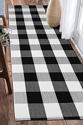 EARTHALL Buffalo Plaid Runner Rug Black and White 2'x6', Buffalo Check Rug Runner Hallway Entry Carpet, Cotton Hand-Woven Washable Outdoor Rug Runner Entryway/Front Porch/Bedroom (23.6''x70.8'')