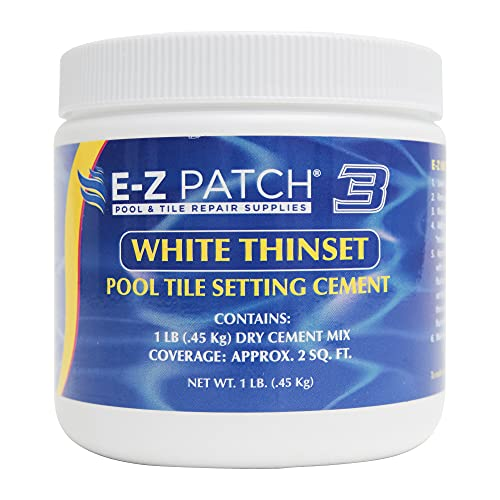 E-Z Patch 3 Pool Tile Thinset Cement for Repairs - Color Adjustable Pool Tile Adhesive (1 lb)