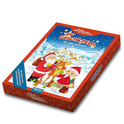 Trötsch Adventskalender 24 Geschichten für den Advent: 24 Geschichten-Karten, 24 Schaumsticker und Wendeposter in Geschenkbox (Weihnachten)