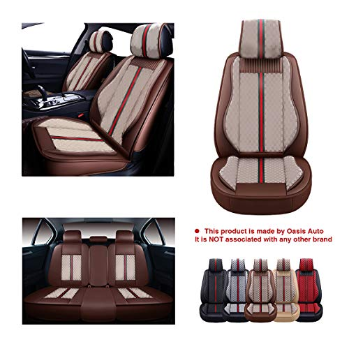 OASIS AUTO OS-007 Leather Car Seat Covers, Faux Leatherette Automotive Vehicle Cushion Cover for Cars SUV Pick-up Truck Universal Fit Set for Auto Interior Accessories (Full Set, Brown)