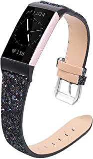 Meyicoo Glitter Bands Compatible with Fitbit Charge 3 & Charge 3 SE Band Fitness Tracker,Fashion Bling Sparkly Breathable Soft Slim Leather Wristband Replacement Strap for Women Men