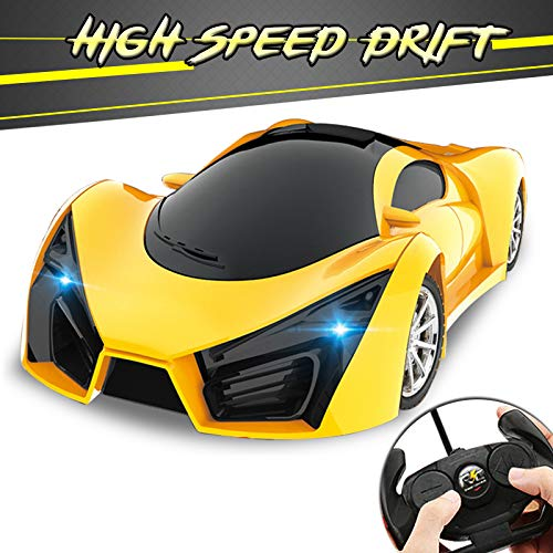 KULARIWORLD Remote Control Car, Drift RC Cars Toys for Kids,1/16 Scale 10KMH High Speed Super Vehicle with Led Headlight,Yellow Racing Hobby Best Xmas Birthday Gifts for Boys Girls