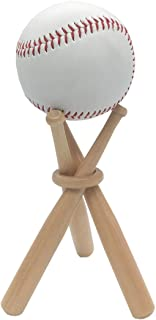 FOLAI Baseball Stand Baseball Stand Holder Wooden Base Ball Stand Display Holder 1 Pack