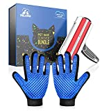 DELOMO Pet Hair Remover, Pet Roller and Pet Gloves, Pet Grooming Gloves, Reusable Dog Hair Remover Roller, Efficient Pet Hair Removal Tool for Your Pets and Furniture, Blue Red