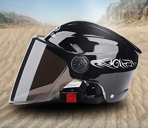 Ecloud Shop® Visera de Bicicleta Levante el medio casco modular con protector solar para hombres y mujeres. Casco para automóvil eléctrico, casco de bicicleta (negro)