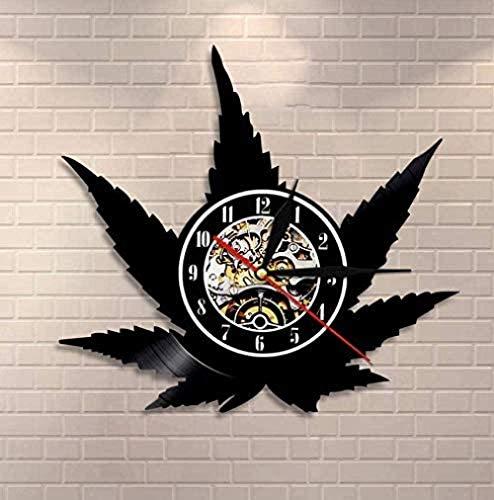 wttian Reloj de Pared de Vinilo Hoja de Hierba Reloj de Pared Retro sin tictac Hoja de Cannabis Silueta Arte Verde Arte de Pared a Base de Hierbas