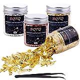BQTQ 4 Cajas Copos de Oro Hojuelas de Pan de Oro Láminas Oro con 1 Pieza Pinza para Uñas Arte Manualidades Decoración, 7g/Cajas