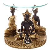 EliteKoopers - Quemador de aceite de Buda tailandés dorado y marrón con plato para decoración de regalo