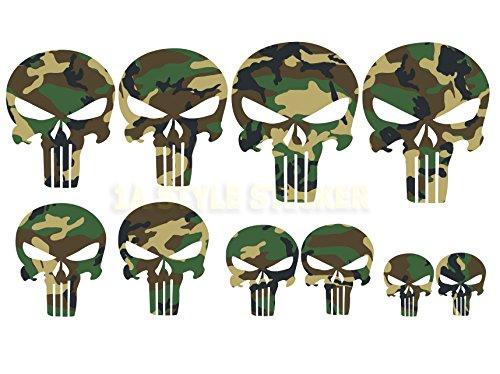 Totenkopf Aufkleber 10 x camouflage Sticker tarnlook Arme Totenschädel Aufkleber skull Spiegel Hardcore