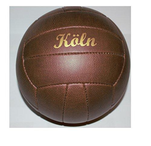 Fussball / Ball / braun / Gr. 5 / Nostalgieball / Nostalgie Ball / Retroball im Leder Look mit Ziernieten und goldenem Print Schriftzug Köln