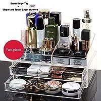アクリル化粧オーガナイザー化粧品オーガナイザーボックス、透明な防塵大規模な化粧品収納ケース、ドレッシングテーブル超大容量化粧品ディスプレイケース (Color : A02)