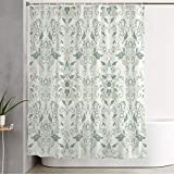 Shower Curtain for Bathroom Ornate Baroque Damask Vintage Beauty Retro Celebrations Plant Classic Revival Florals Swirl Luxury Funny Shower Curtain Water Proof Bath Curtain with Hooks 60' x 72'