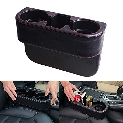 FinWell Car Seat Crevice Storage Box Cup Drink Holder Organizer Auto Stowing Large Capacity Storage Case Coin Box PU Leather ABS Plastic Car Organisers Universal for Cars