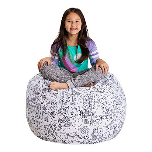 Posh Stuffable Kids Stuffed Animal Storage Bean Bag Chair Cover - Childrens Toy Organizer, Large 38' - Canvas Fun Creatures Coloring Fabric