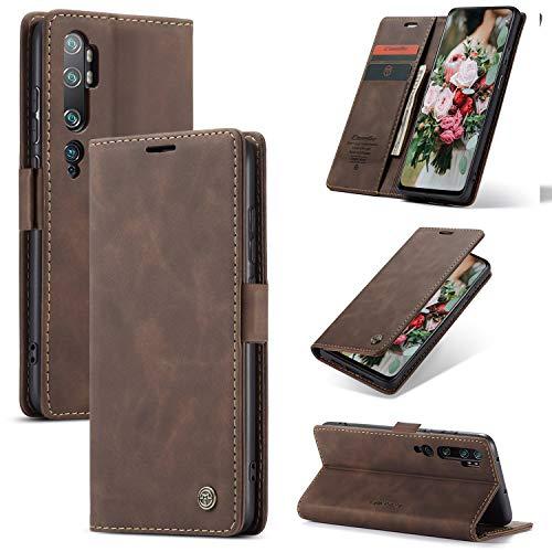XINYUNEW Hülles Kompatibel mit Xiaomi Mi Note 10 PRO/Mi Note 10/CC9 Pro Hüllen, Premium Dünne Ledertasche Handyhülle mit Kartenfach Ständer Flip Klapphüllen for Hülles Xiaomi Mi Note 10- Kaffee