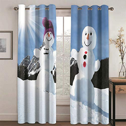 YUNSW Couple Snowman 3D Digital Printing Curtains Living Room Kitchen And Bedroom Blackout Heat Insulation Curtain 2 Piece Set