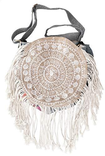 Guru-Shop Boho Schultertasche, Hippie Tasche, Upcycling - Modell 2, Herren/Damen, Beige, Baumwolle, Size:One Size, 45x33 cm, Alternative Umhängetasche, Handtasche aus Stoff