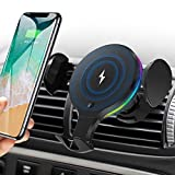 Wireless Car Charger Mount, KNGUVTH Auto Clamping Car Wireless Charger 10W 7.5W Qi Fast Charging Car Phone Holder Air Vent Compatible with iPhone 11 Pro Max Xs X XR 8+, Samsung S10 S10+ S9 S9+ S8 S8+