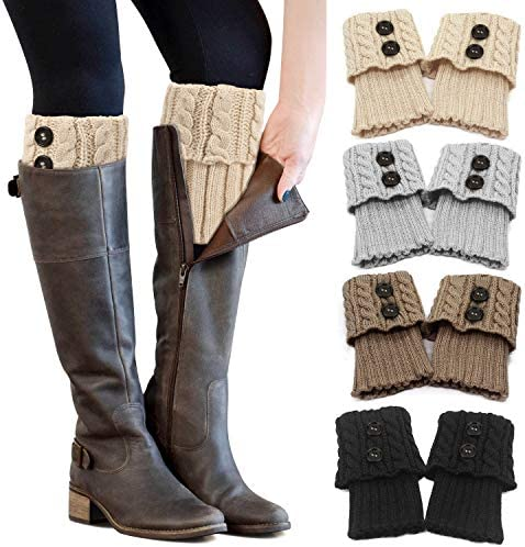 PHOGARY 4 Pairs Winter Warm Boot Cuffs for Women Crochet Knitted Boot Socks for Gilrs Short product image