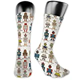 Moruolin Compression High Socks,Various Different Super Robot Figures Set In Cartoon Style Fantasy Futuristic Machine,Women and Men For Running,Athletic,Hiking,Travel,Flight