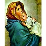 qianyuhe Cuadros de Arte de Pared Pintura de niña Virgen María decoración de Pared Cuadro al óleo Pintado decoración del hogar 60x90cm