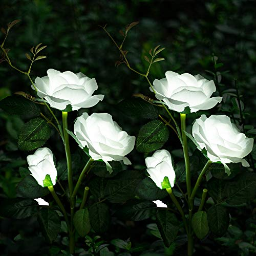 Solar Garden Lights Yard Decorations Solar Rose Flower Lights with 6 Rose Flowers Waterproof for Garden Patio Yard Pathway Decoration (2 Pack White)
