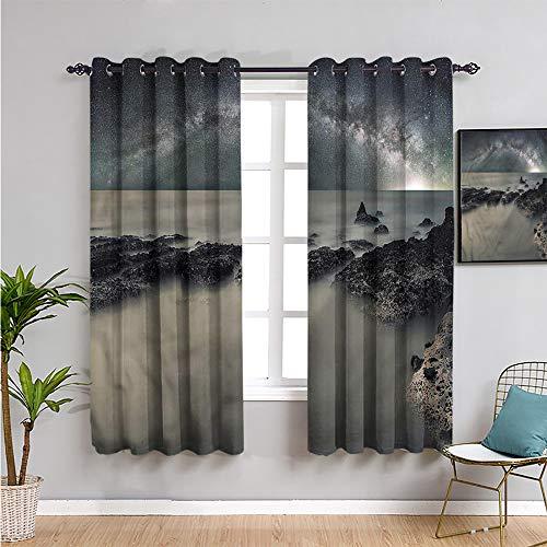 Space Dormitorio Decor - Cortinas opacas de 213 cm de largo, forma lechosa, espacio de niebla, habitación oscura, 52 x 84 pulgadas de ancho