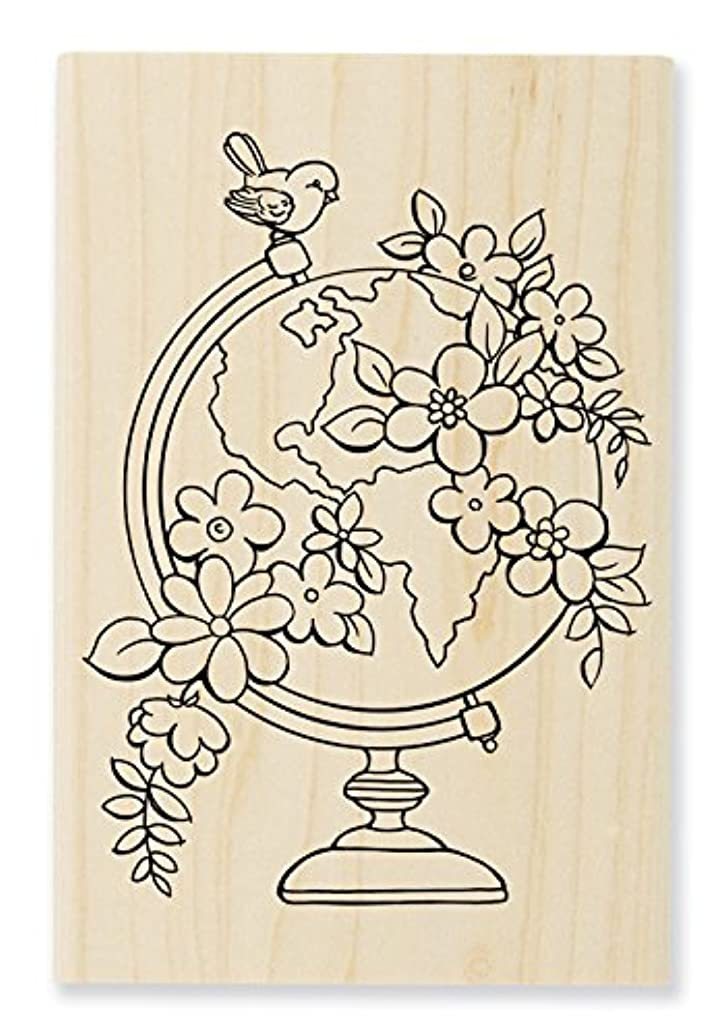 STAMPENDOUS Wood Rubber Stamp Blooming Globe