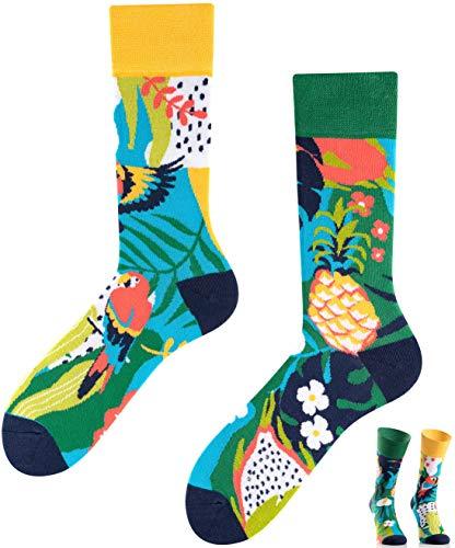 TODO Colours Lustige Socken mit Motiv - Mehrfarbige, Bunte, Verrückte für die Lebensfreude (Ananas - Papagei, numeric_39)