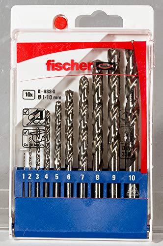 fischer 536603 Drill Bit HSS-G Sizes 1-10 mm Practical Set 10 Metal Drill Bits Grey