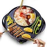 Parrilla eléctrica de Barbacoa y Olla Caliente 1.6L No-Palo Shabu Shabu Pot Coreano sin Humo Tabletop Grill para Party Indoor al Aire Libre, 1600W