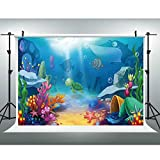 EOA 5(W) x3(H) FT Underwater World Backdrop for Birthday Party Cartoon Coral Reef Marine Life Blue Ocean Photography Background Photoshot Picture Cake Table Decoration Prop
