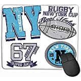 Rectangle Antidérapant en Caoutchouc Mousepad College New York Rugby Fashion Style Design